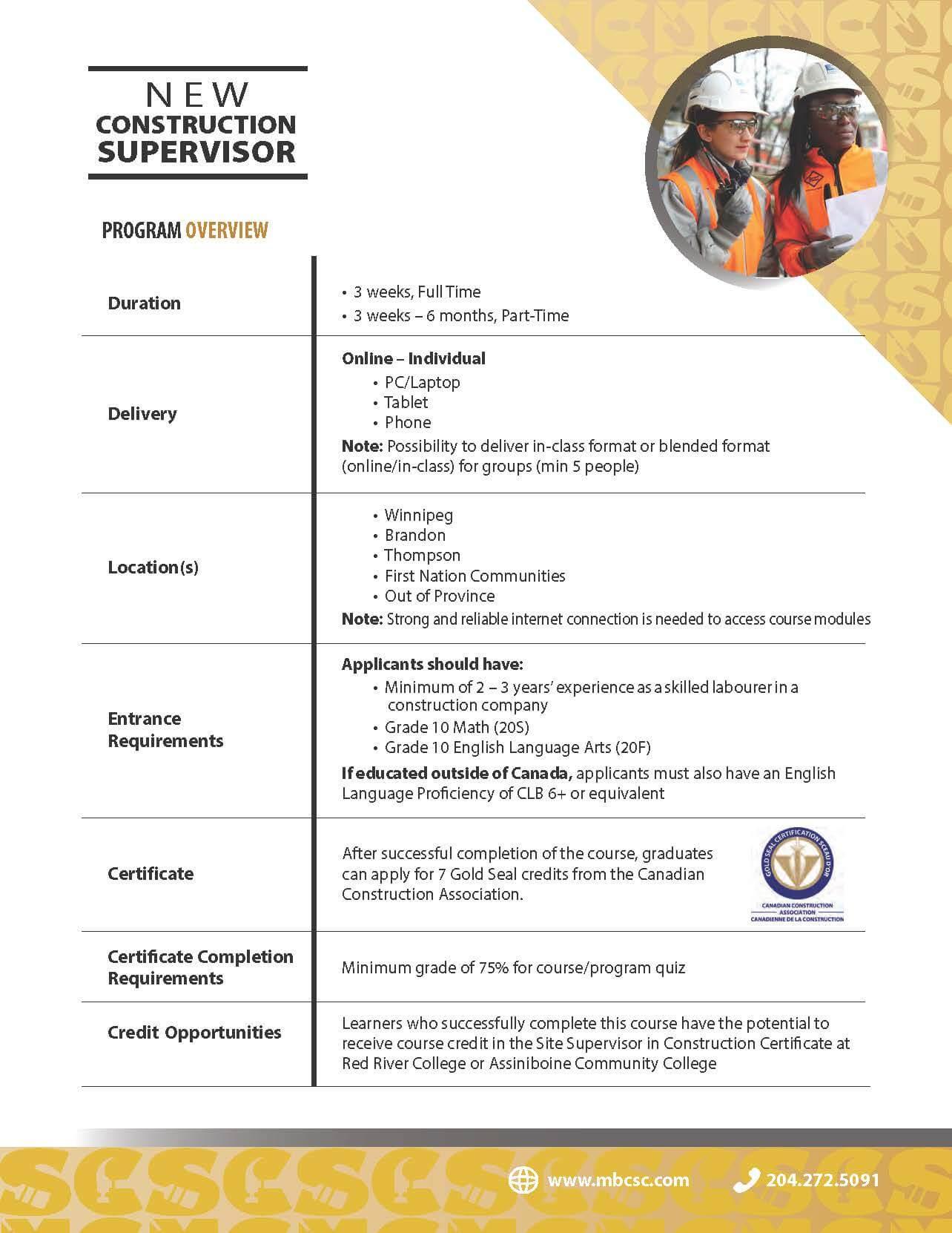 New Construction Supervisor Course